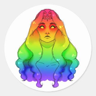 Adesivo Redondo Empregada doméstica do arco-íris