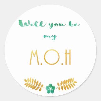 Adesivo Redondo Empregada doméstica do verde e do ouro da honra