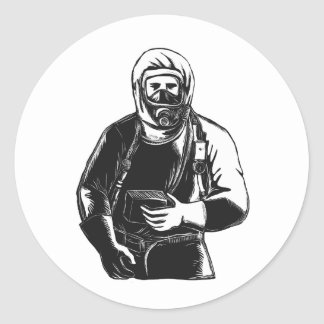 Adesivo Redondo EMT que veste o terno Scratchboard de Hazmat