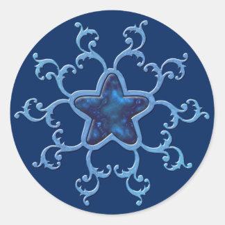 Adesivo Redondo Enchanting, azul, estrela, cintilação, faísca,