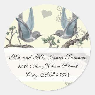 Adesivo Redondo Endereço do remetente do casamento do Bluebird do