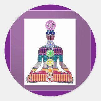 Adesivo Redondo Energia cura da faísca de Chakra da meditação da