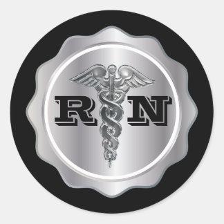 Adesivo Redondo Enfermeira de prata do RN do Caduceus | médico