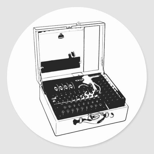 Adesivo Redondo Enigma Machine Criptography World War II