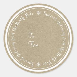 Adesivo Redondo Entrega especial do Natal rústico do Pólo Norte