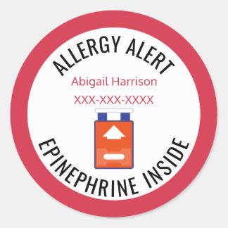 Adesivo Redondo Epinefrina personalizada do alerta da alergia