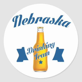 Adesivo Redondo Equipe do bebendo de Nebraska