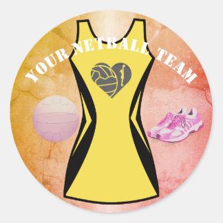Adesivo Redondo Equipe personalizada do Netball do vestido cor