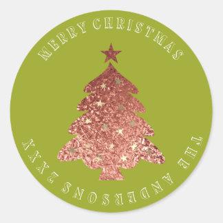 Adesivo Redondo Ervilha verde do ouro cor-de-rosa da árvore do
