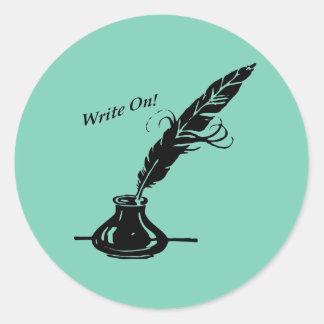 Adesivo Redondo Escreva sobre! Tinta do Quill para escritores