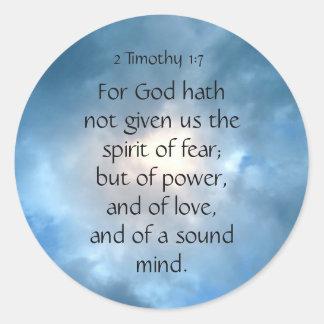 Adesivo Redondo Escritura Timothy da bíblia nenhumas citações do