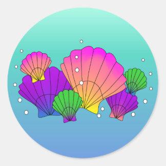 Adesivo Redondo Escudos e bolhas do mar das caraíbas