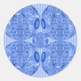 Adesivo Redondo Esferas psicadélicos azuis