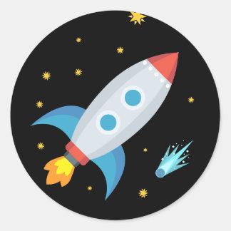 Adesivo Redondo Espaço Rocket Emoji