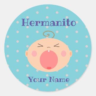 Adesivo Redondo Espanhol Hermanito/etiqueta do irmão mais novo