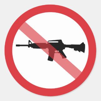 Adesivo Redondo Espingardas de assalto da proibição - nenhuma