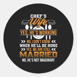 Adesivo Redondo Esposa dos cozinheiros chefe que trabalha nós é