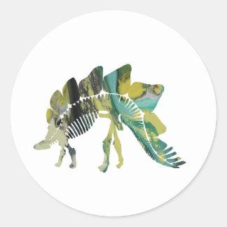 Adesivo Redondo Esqueleto do Stegosaurus