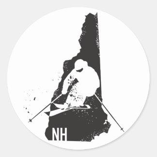 Adesivo Redondo Esqui New Hampshire