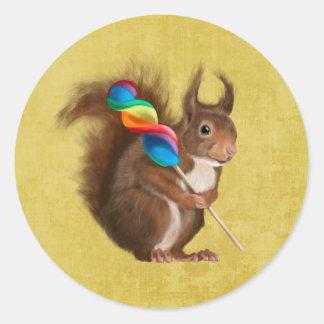 Adesivo Redondo Esquilo com pirulito