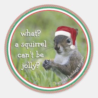 Adesivo Redondo Esquilo do papai noel: Que? Um esquilo não pode