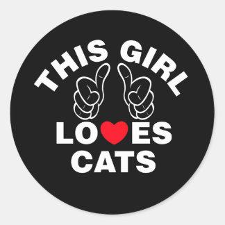 Adesivo Redondo Esta menina ama gatos