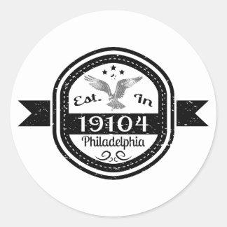 Adesivo Redondo Estabelecido em 19104 Philadelphfia