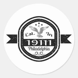 Adesivo Redondo Estabelecido em 19111 Philadelphfia