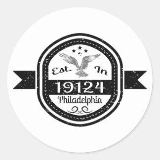 Adesivo Redondo Estabelecido em 19124 Philadelphfia
