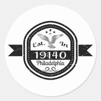 Adesivo Redondo Estabelecido em 19140 Philadelphfia