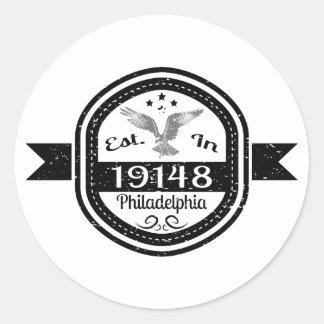 Adesivo Redondo Estabelecido em 19148 Philadelphfia