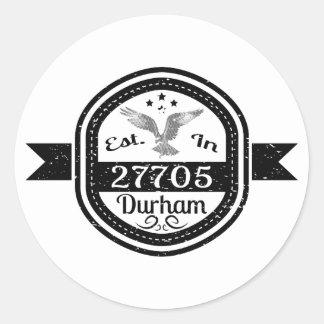 Adesivo Redondo Estabelecido em 27705 Durham