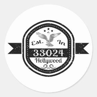 Adesivo Redondo Estabelecido em 33024 Hollywood