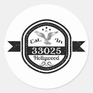 Adesivo Redondo Estabelecido em 33025 Hollywood