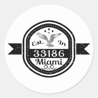 Adesivo Redondo Estabelecido em 33186 Miami