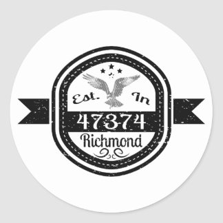 Adesivo Redondo Estabelecido em 47374 Richmond
