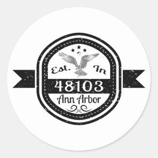 Adesivo Redondo Estabelecido em 48103 Ann Arbor