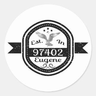 Adesivo Redondo Estabelecido em 97402 Eugene