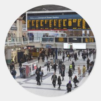 Adesivo Redondo Estação Londres da rua de Liverpool