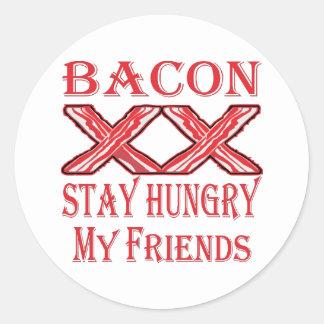 Adesivo Redondo Estada do bacon com fome meus amigos