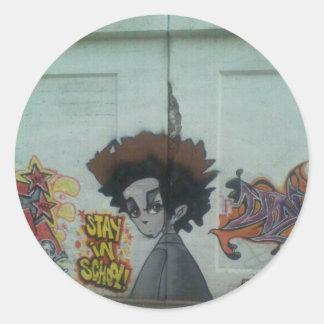 Adesivo Redondo Estada na arte da rua de Chicago da escola