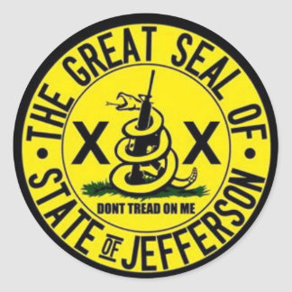 Adesivo Redondo Estado de selo de Jefferson
