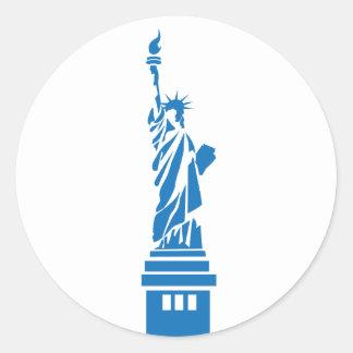 Adesivo Redondo Estátua da liberdade, azul
