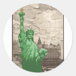 Adesivo Redondo Estátua da liberdade clássica