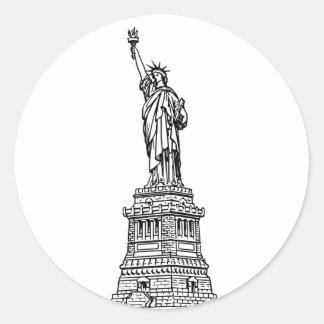 Adesivo Redondo Estátua da liberdade, preto