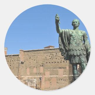 Adesivo Redondo Estátua de Trajan em Roma, Italia