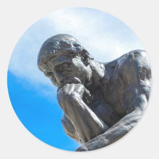 Adesivo Redondo Estátua do pensador de Rodin