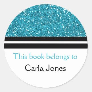 Adesivo Redondo Este livro pertence ao brilho azul dos Bookplates