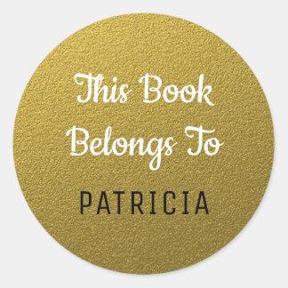 Adesivo Redondo Este livro pertence ao brilho de Bookplates|Gold