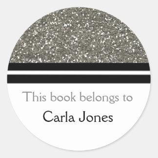 Adesivo Redondo Este livro pertence ao brilho de prata dos